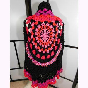 Crochet Black Red Colorful Sweater Hi Low Large